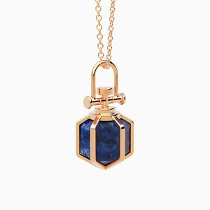 Collier Six Senses Talisman Modern Sacred 18k en Or Rose Massif avec Lapis Lazuli Naturel par Rebecca Li