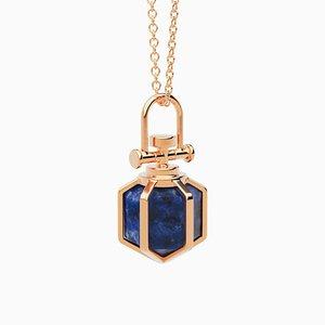 Modern Sacred 18k Solid Rose Gold Mini Six Senses Talisman Necklace with Natural Lapis Lazuli by Rebecca Li