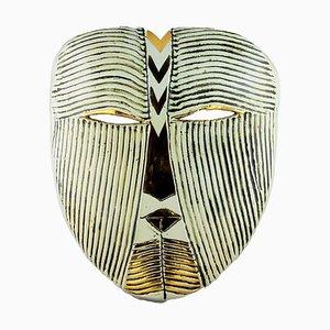 Máscara de pared vintage de gres en blanco de Lisa Larson para Gustavsberg