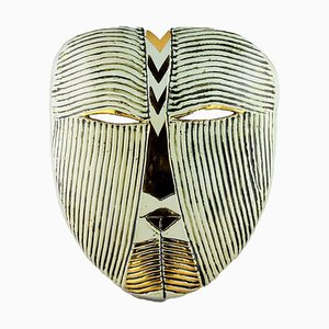 Maschera da parete vintage in gres bianca di Lisa Larson per Gustavsberg