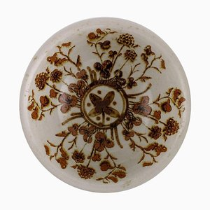Bowl in Glazed Stoneware with Flowers, 1970s