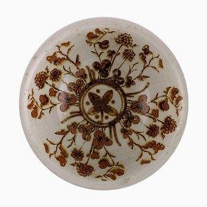 Schale aus glasiertem Steingut mit Blumen, 1970er
