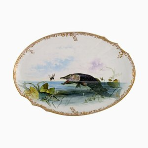 Large Serving Dish in Porcelain with Hand-Painted Fish from Pirkenhammer
