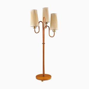 Schwedische Moderne Stehlampe aus Messing und Leder