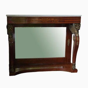 Empire Console Table in Mahogany with Marble Top