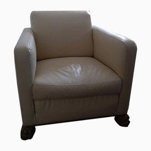 Art Deco White Leather Armchair