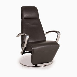 Grey Leather Lounge Chair from Willi Schillig
