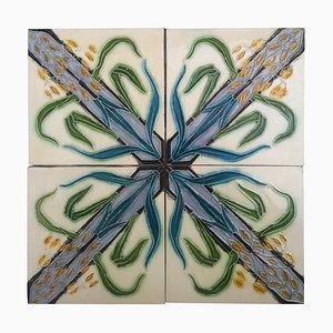 Antique Tiles from Gilliot Frères, 1930s, Set of 4