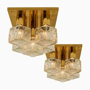 Brass & Ice Glass Flush Mount or Sconce from Kalmar, 1970s