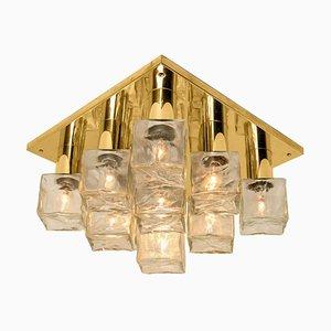 Brass & Ice Glass Flush Mount Light or Sconce from Kalmar, 1970s