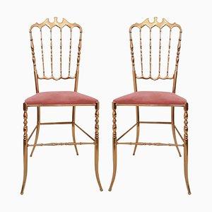 Italian Large Chiavari Brass Chairs with Pink Velvet Upholstery, Set of 2