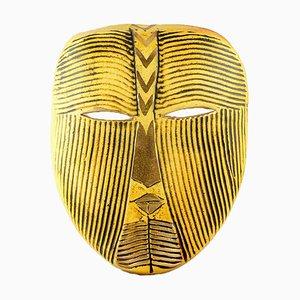 Vintage Steingut Wandmaske in Gelb von Lisa Larson für Gustavsberg