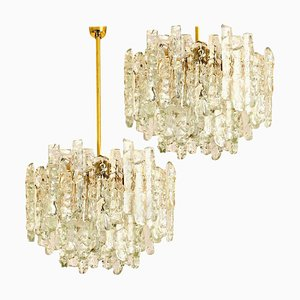 Modern Two-Tiered Ice Glass & Brass Pendants from Kalmar, 1970s, Set of 2