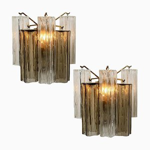 Smoked and Clear Glass Wall Lights by J.T. Kalmar, Austria, 1960, Set of 2