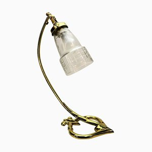 Art Deco Brass & Glass Table Lamp, 1910s