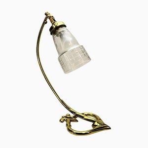 Art Deco Messing & Glas Tischlampe, 1910er