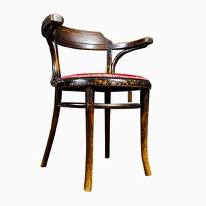 Brocante Café Chair with Red Upholstery, 1930s