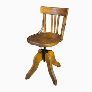 Antique Office Chair with Spindle, 1920s