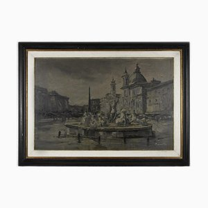 Unknown, Navona Square, Oil Painting on Board, Late 19th Century