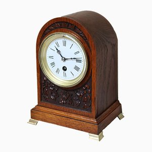 Edwardian Oak Arch Top Mantel Clock