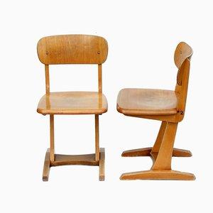 Kindergarten Holzstühle von AMA, 1960er, 2er Set
