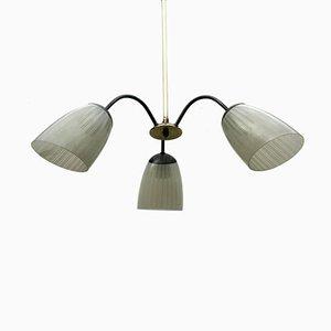 Lampada a sospensione vintage in ottone e vetro