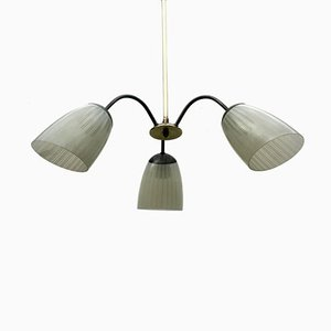 Vintage Brass and Glass Rod Pendant Lamp
