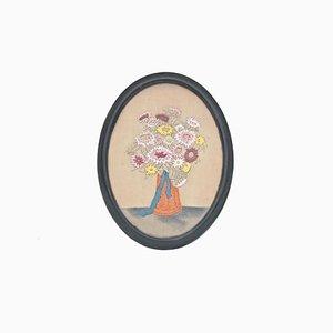 Art Nouveau Silk Embroidery of Flower Still Life