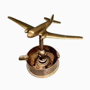 WWII Trench Art Ashtray with a DC-3, 1940s
