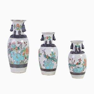 Japanische Keramikvasen, frühes 1900er, 3er Set
