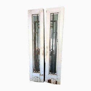Bemalte Art Deco Türen mit Glasfenstern, 2er Set