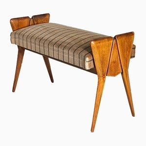 Panca in legno con seduta in velluto nello stile di Ico Parisi, anni '50