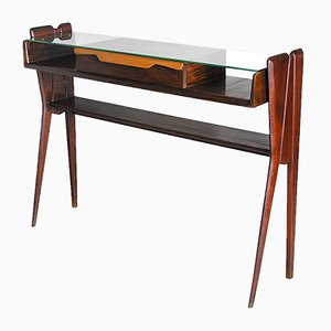 Wooden Console with Central Drawer & Glass Shelf Attributed to Ico & Luisa Parisi
