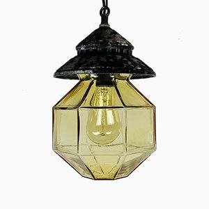 Mid-Century Glass & Metal Pendant Lamp from ISMOS, Italy, 1980s