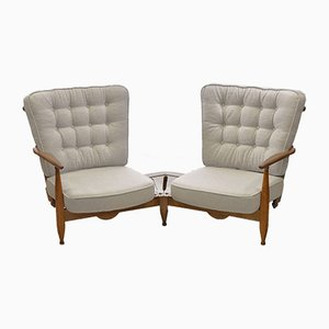 Oak Sectional Sofa or Armchairs with Bouclé Wool Upholstery by Guillerme et Chambron for Votre Maison, 1950s