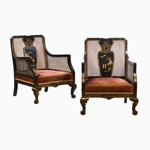 Decorative Chinoiserie Style Japanned & Gilded Bergere Armchairs, 1920s, Set of 2