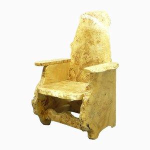 Handmade Olive Wood Armchair, 1970s