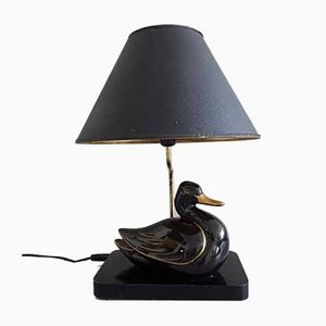 Duck Table Lamp in Black & Gold Ceramic, 1970s
