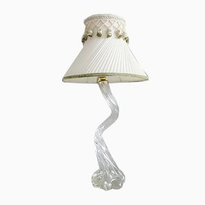 French Glass Table Lamp with Beige Pleated Lampshade
