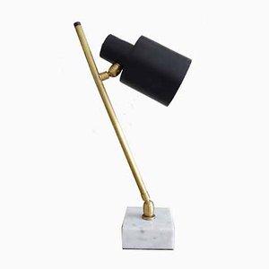 Lampe de Bureau en Métal Noir avec Socle en Marbre, Italie, 1960s
