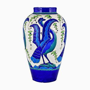 Art Deco Ceramic Vase with Stylized Birds by Charles Catteau for Keramis, 1931