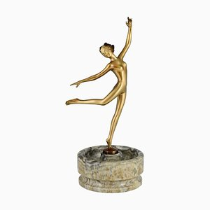 Art Deco Bronze Sculpture of Nude Dancer by Joseph Lorenzl, 1925