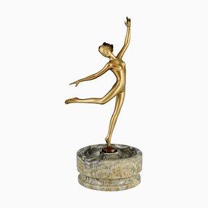 Escultura de bailarina desnuda Art Déco de bronce de Joseph Lorenzl, 1925