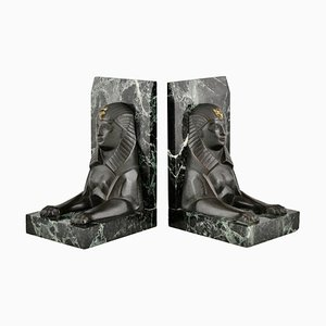 Art Deco or Egyptian Revival Bronze Sphinx Bookends by C. Charles, 1930s, Set of 2