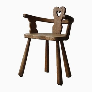 Vintage Swedish Sculptural Heart Chair in Solid Oak, Early 20th Century