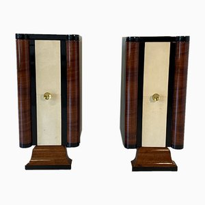 Art Deco Parchment and Walnut Cabinets, 1930s, Set of 2