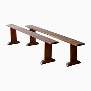 Cherry Wood Benches, Set of 2