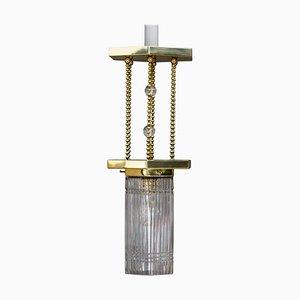 Hexagonal Art Deco Pendant Lamp with Original Glass Shade, 1920s