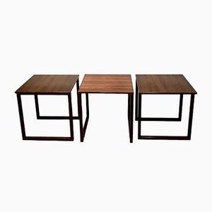 Cube Rosewood Nesting Tables Kai Kristiansen for Mobelfabrik Vildbjerg, Denmark, 1960s