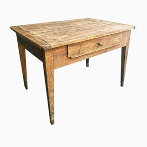 Antique French Kitchen Table in Oak with Drawer